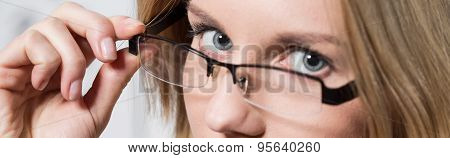Intelligent Woman Wearing Designed Spectacles