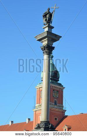 Zygmunt column in the center of Warsaw