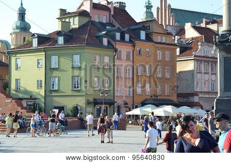 tourists in the Old Town in Warsaw, Poland