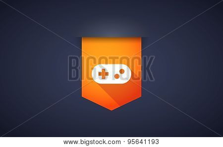 Long Shadow Ribbon Icon With A Game Pad