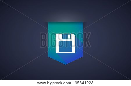 Long Shadow Ribbon Icon With A Floppy Disk