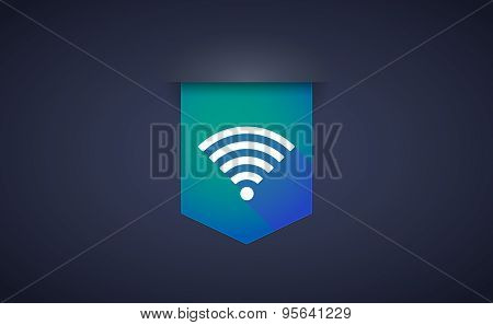 Long Shadow Ribbon Icon With A Radio Signal Sign