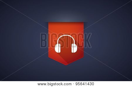 Long Shadow Ribbon Icon With A Earphones
