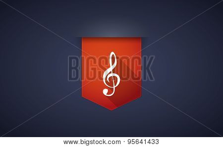 Long Shadow Ribbon Icon With A G Clef