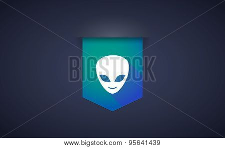 Long Shadow Ribbon Icon With An Alien Face