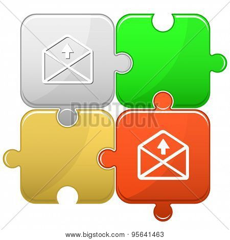 mail up arrow. Vector puzzle.