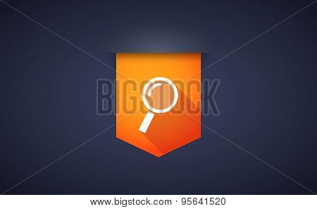 Long Shadow Ribbon Icon With A Magnifier