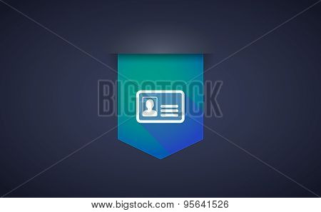 Long Shadow Ribbon Icon With An Id Card