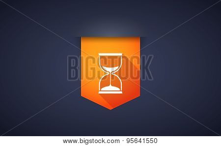 Long Shadow Ribbon Icon With A Sand Clock