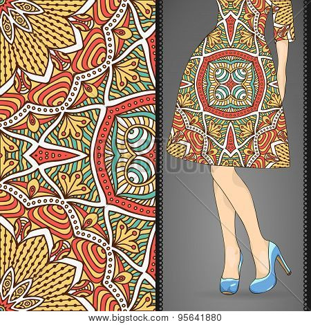 Dress with seamless pattern