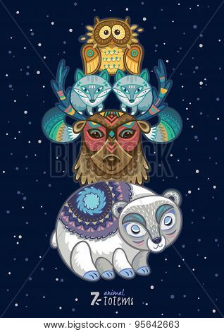 Vector illustration of wild totem animal. Polar bear, reindeer, arctic fox, owl