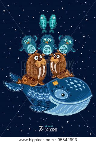 Vector illustration of wild totem animal. Walrus, penguins, fish, whale
