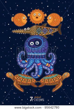 Vector illustration of wild totem animal. Turtle, octopus, fish
