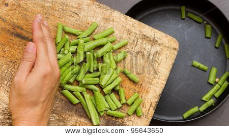 Green Cow Pea For Cooking And Health On The Pan.
