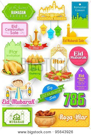 illustration of Eid Mubarak (Happy Eid) sale and promotion offer banner