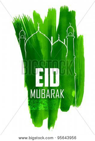 illustration of Grungy Eid Mubarak (Happy Eid) Background with mosque