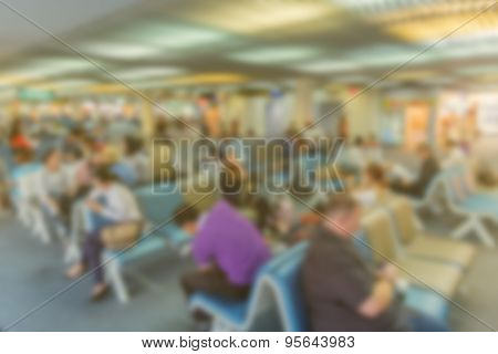 Blured Chair Waiting For Passengers At Airports Made Vintage Color.