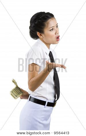 Businesswoman Hiding Money Behind Her Back