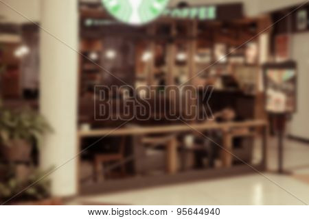 Blurred Background Of Shop In Thailand Airport Out Of Focus Made Vintage Color.