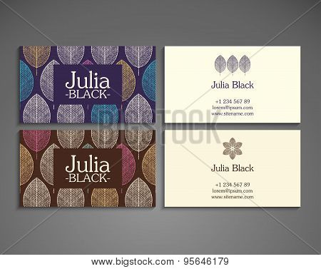 Business Card. Vintage decorative elements. Ornamental floral business cards, oriental pattern, vect