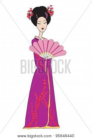 Beautiful Japanese Geisha Girl In Kimono