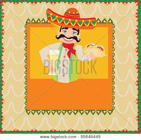 Mexican Man Holding A Cold Beer And A Taco