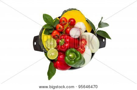 Vegetables For Healthy On White Isolate Background With Clipping Path.