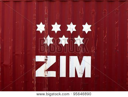ZIM logo on a container.