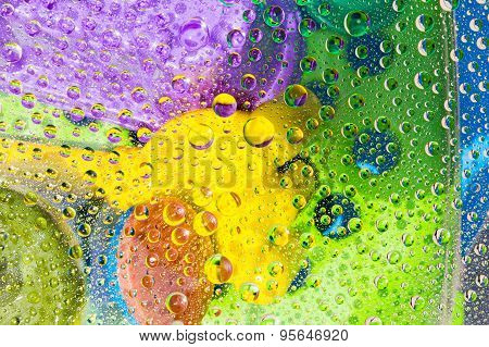 Water Drops Of Colorful Background