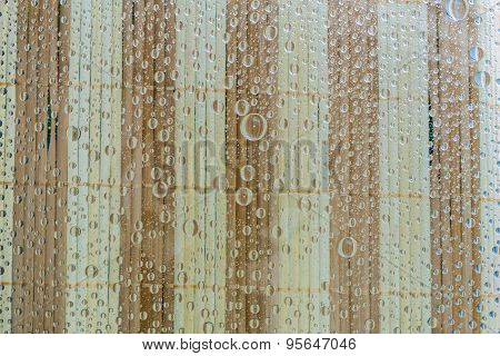 Water Drops Of Wooden Background