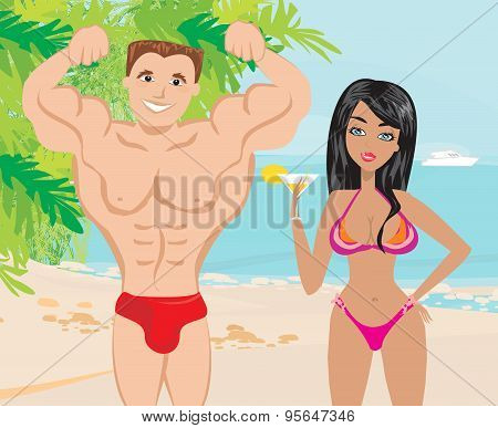 Young Couple Flirt In A Tropical Landscape
