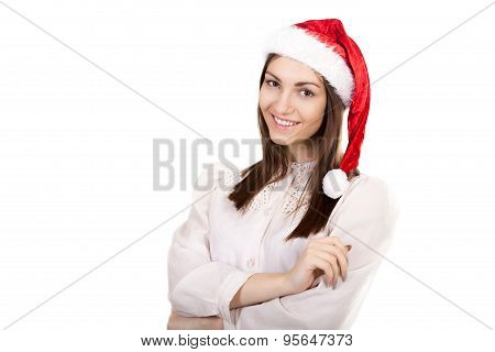 Young Business Woman In Red Santa Claus Hat On White Background