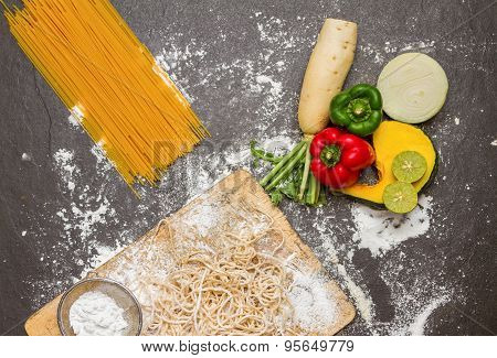 Spaghetti And Flour With Raw Homemade