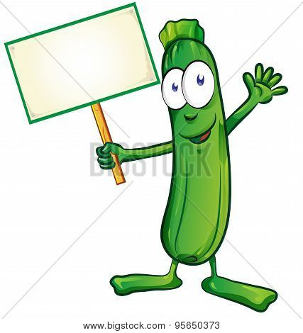 Zucchini  Cartoon With Signboard