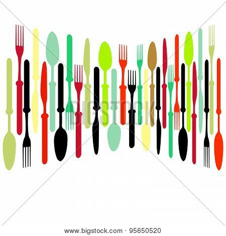 Cutlery Dishe Spoon, Knife And Fork.