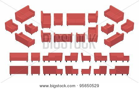 Isometric red modern armchair and sofa
