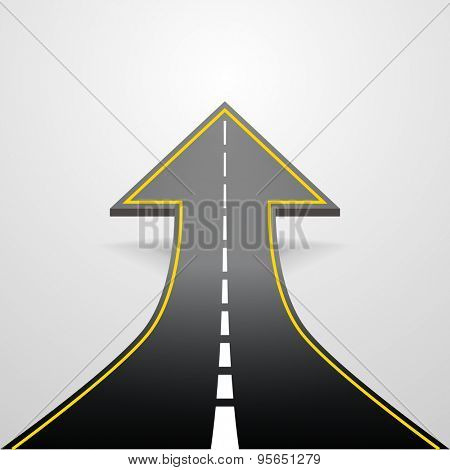 detailed illustration of a road going up as an arrow, eps10 vector