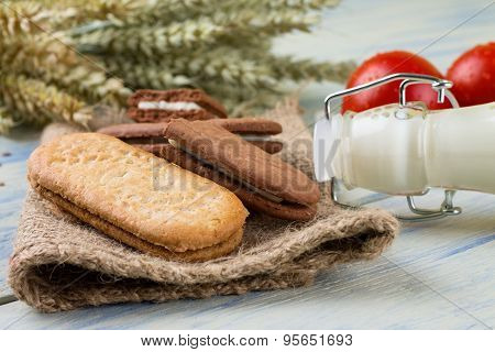 Several Cereal Biscuits On Jute Cloth
