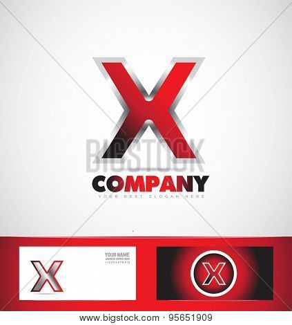 Letter X Red Logo Metal Games