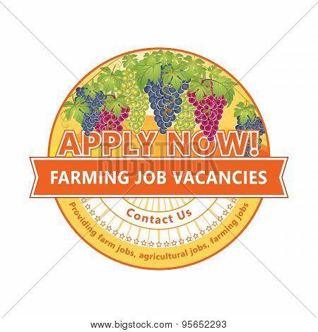 Farming Job Vacancies - stamp / label for print