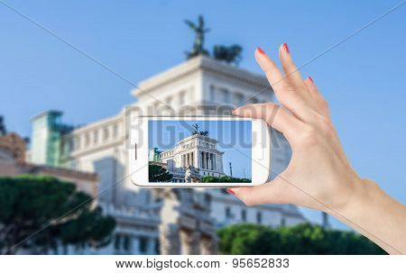 Rome, Italy. Famous Vittoriano with gigantic equestrian statue of King Vittorio Emanuele II.
