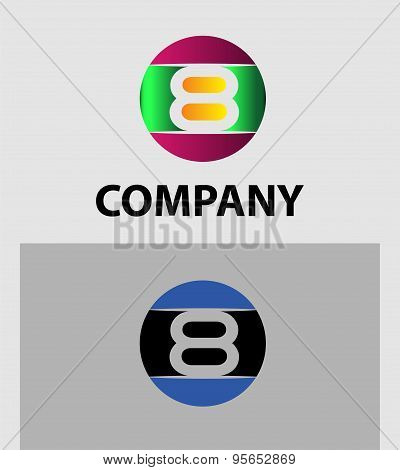 Number logo design.Number five logo.Logo 8 vector template.