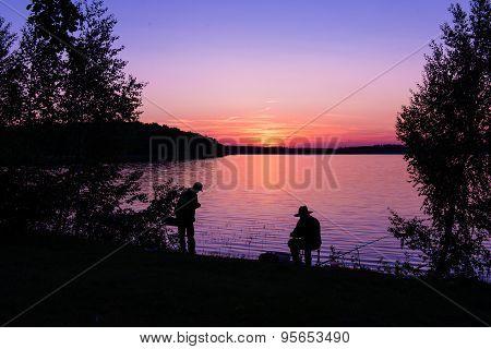 Fishing on lake.