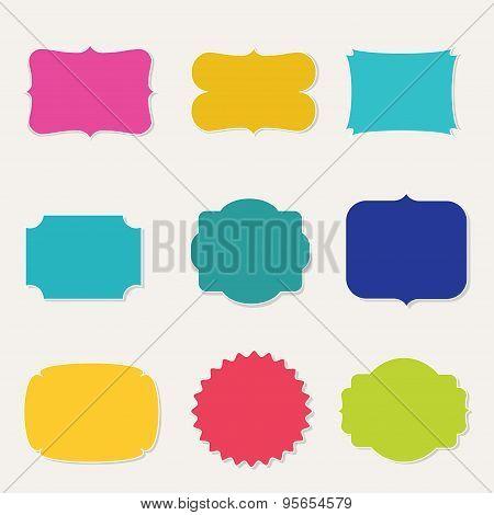 Colorful set of vintage frames vector