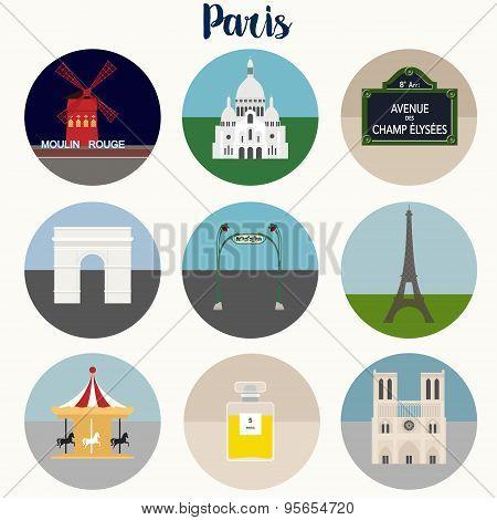 Paris Icons Set - Vector EPS10