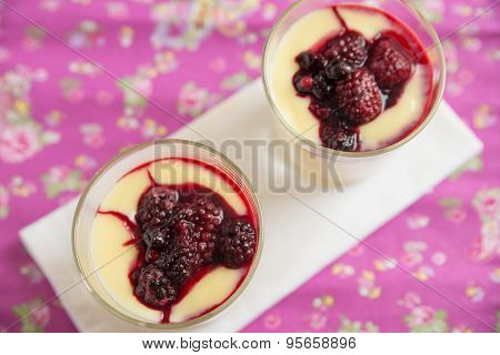 Vanilla Custard Pudding with mixed berries