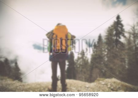 Blurred Background Young Man Traveler with backpack