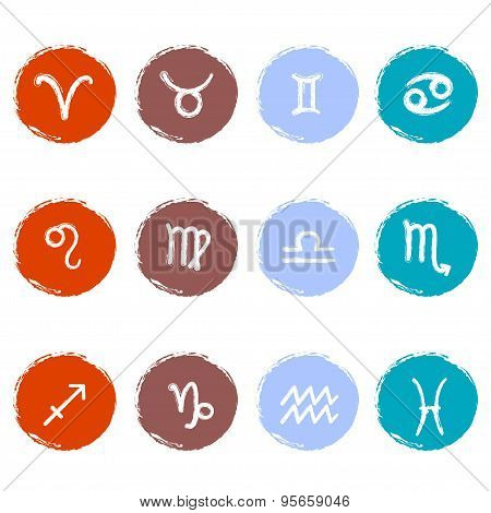 Stock vector set of colorful icons. Zodiac signs