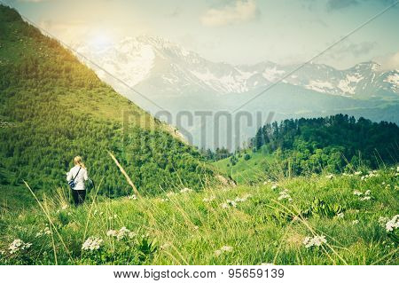 Young Woman hiking outdoor Travel Lifestyle
