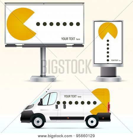 Template outdoor advertising or corporate identity on the car, billboard and citylight.